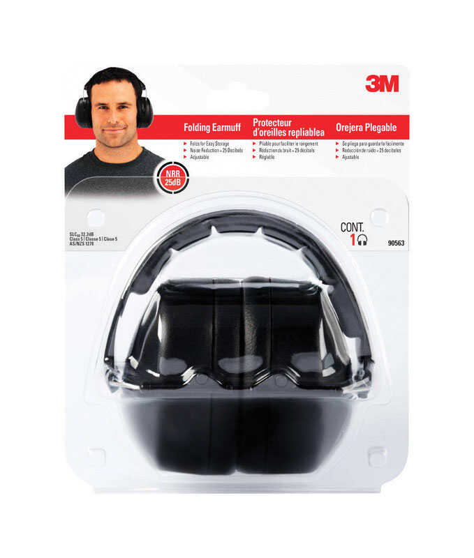 3M  25 dB Soft Foam  Folding Earmuffs  Black  1 pair