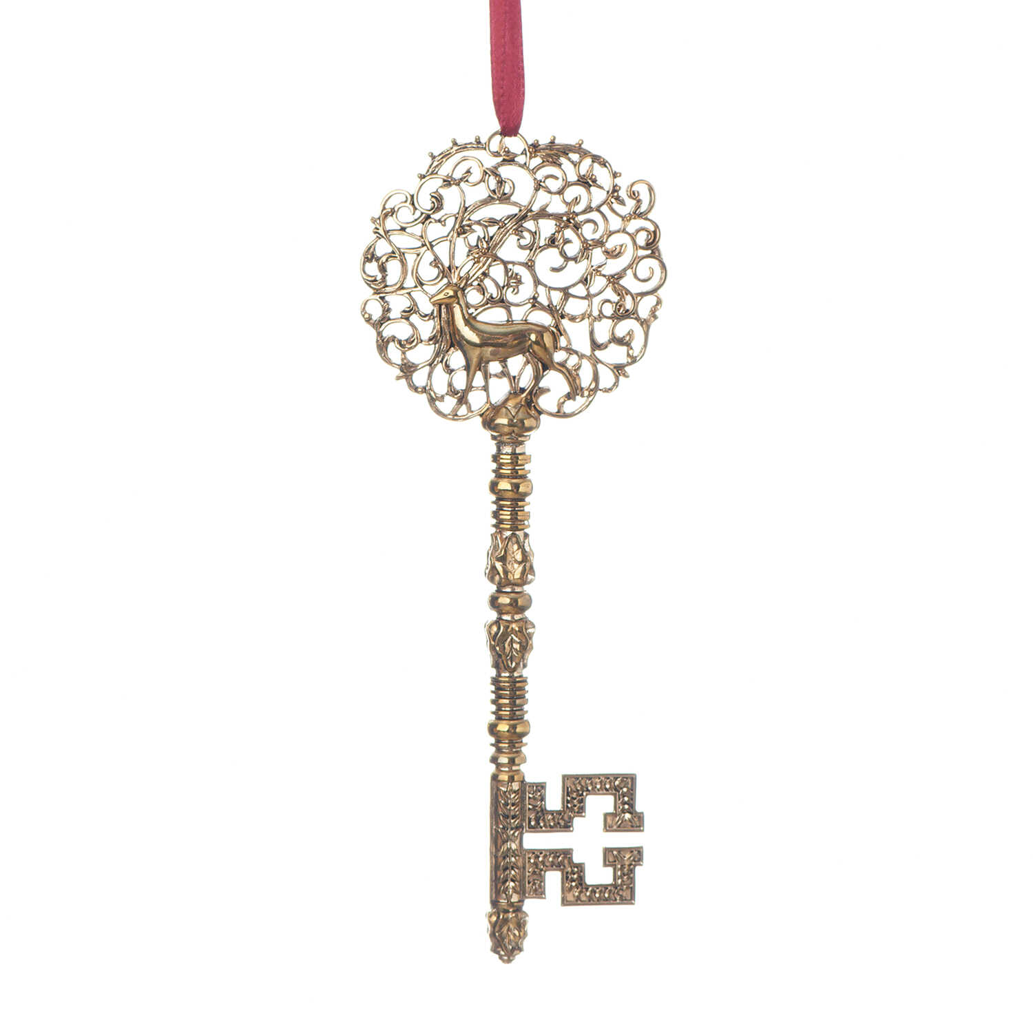 Roman  Santa's Book of Secrets Key  Multicolored  Metal, Fabric  1 pk Christmas Ornament