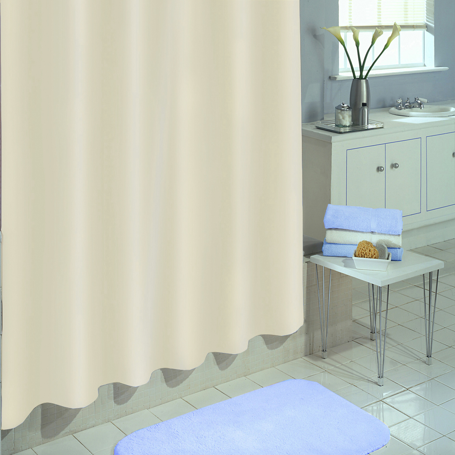 Excell  70 in. H x 72 in. W Solid  Shower Curtain Liner  Ecru
