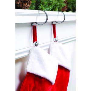 Haute Decor  Jingle Bells  Stocking Adjuster  Silver  Metal  4 pk