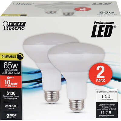 Feit Electric  BR30  E26 (Medium)  LED Bulb  Daylight  65 Watt Equivalence 2 pk