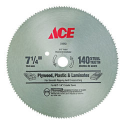 Ace  7-1/4 in. Dia. x 5/8 in.  Steel  Circular Saw Blade  140 teeth 1 pk