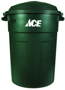 Ace  32 gal. Plastic  Garbage Can  Lid Included