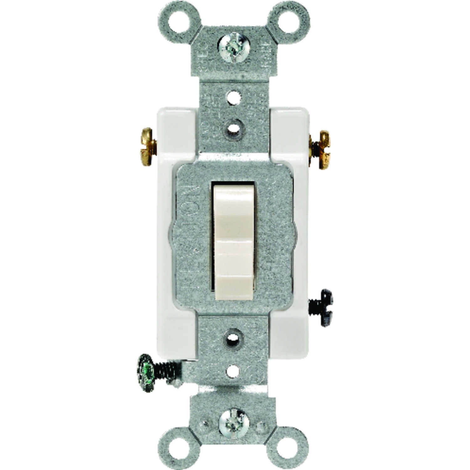 Leviton  Commercial  15 amps Toggle  Switch  Light Almond  1 pk