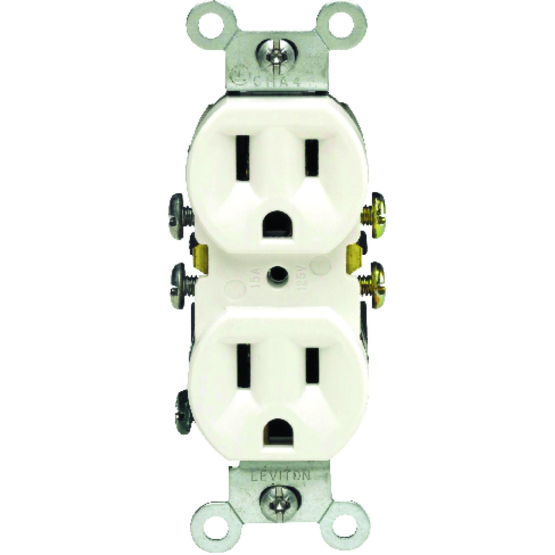 Leviton  15 amps 125 volt Duplex  White  Outlet  5-15R  10 pk