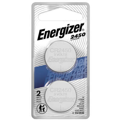 Energizer  Lithium  2450  3 volt Button Cell Battery  2450BP-2N  2 pk
