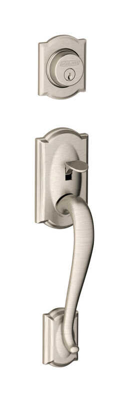 Schlage  Camelot  Satin Nickel  Brass  Handleset  1 Grade Right or Left Handed