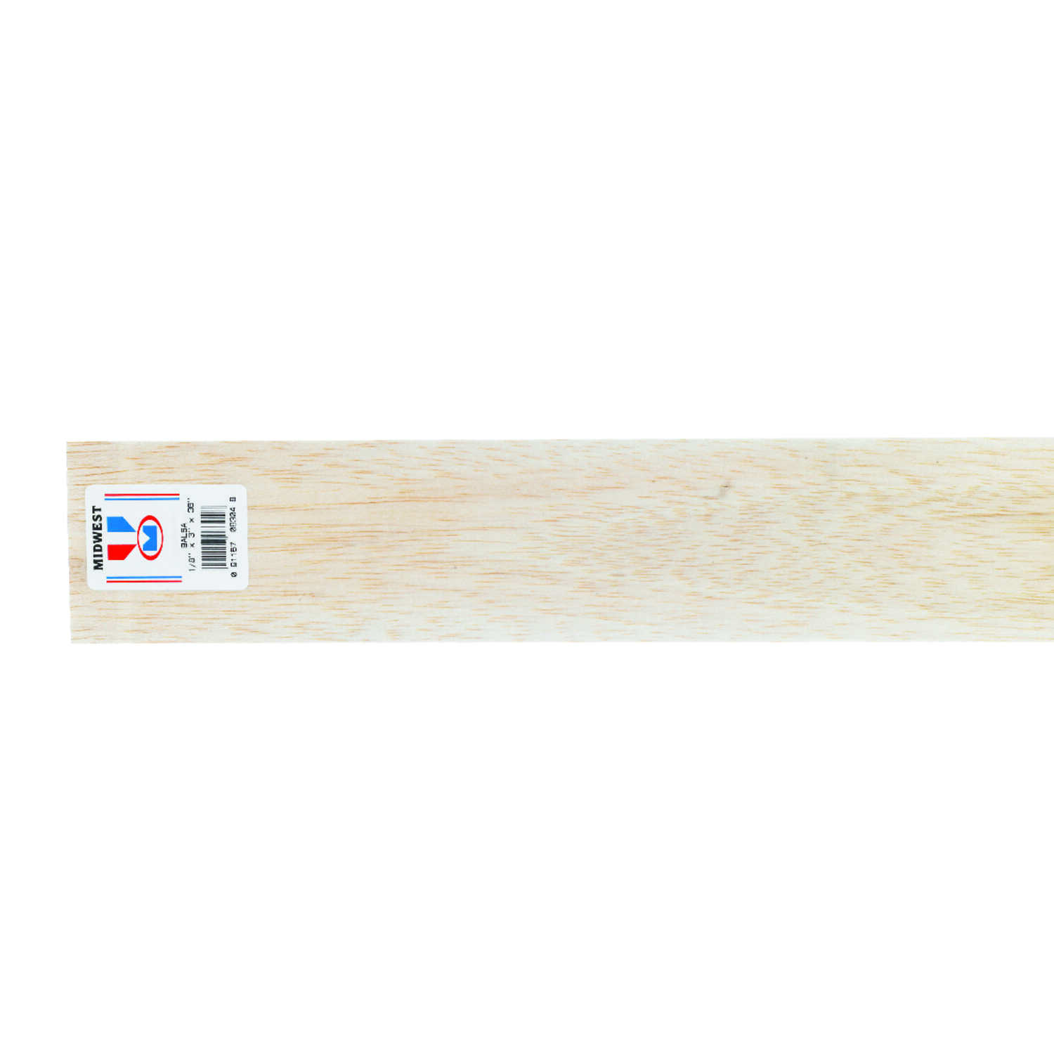 Midwest Products  3 in. W x 3 ft. L x 1/8 in.  Balsawood  Sheet