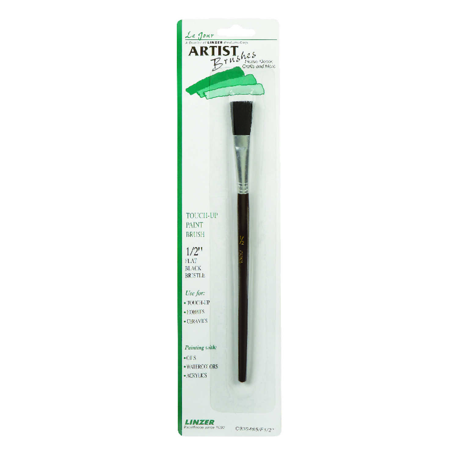 Linzer  1/2 in. W Flat  Black China Bristle  Touch-Up Paint Brush