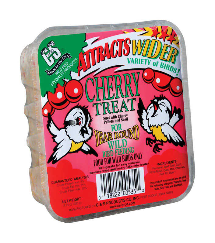 C&S Products  Cherry Treat  Assorted Species  Wild Bird Food  Beef Suet  11.75 oz.