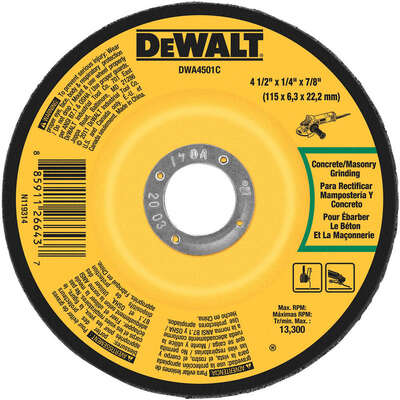 DeWalt  4-1/2 in. Dia. x 1/4 in. thick  x 7/8 in.   Masonry Grinding Wheel  1 pc.