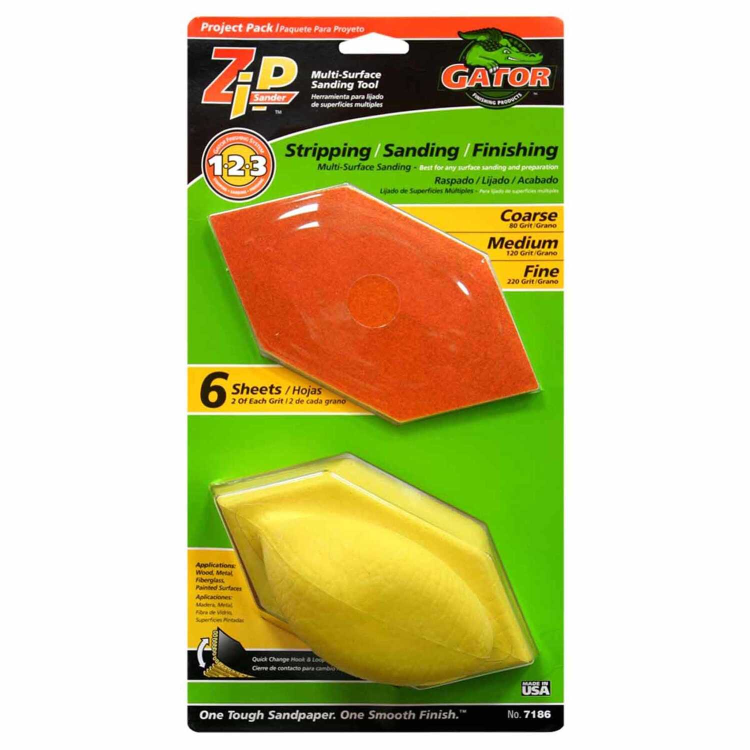 Gator  Zip  3 in. W x 6 in. L Assorted Grit Sanding Block Kit