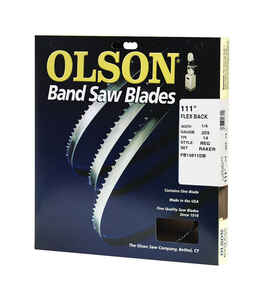 Olson  111 in. L x 1/4 in. W x 0.025 in. thick  Carbon Steel  Band Saw Blade  14 TPI Regular teeth 1