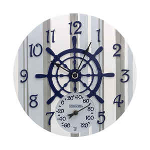 Springfield  Captain's Wheel  Clock/Thermometer  Polyresin  Blue/White