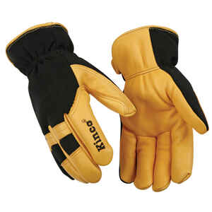 Kinco  Men's  Indoor/Outdoor  Deerskin Leather  Thermal  Work Gloves  Black/Yellow  L  1 pair