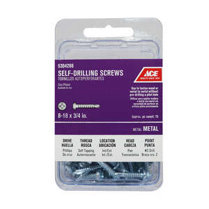 Ace  8 Sizes  x 3/4 in. L Phillips  Pan Head Steel  75 per box Self- Drilling Screws  Zinc-Plated