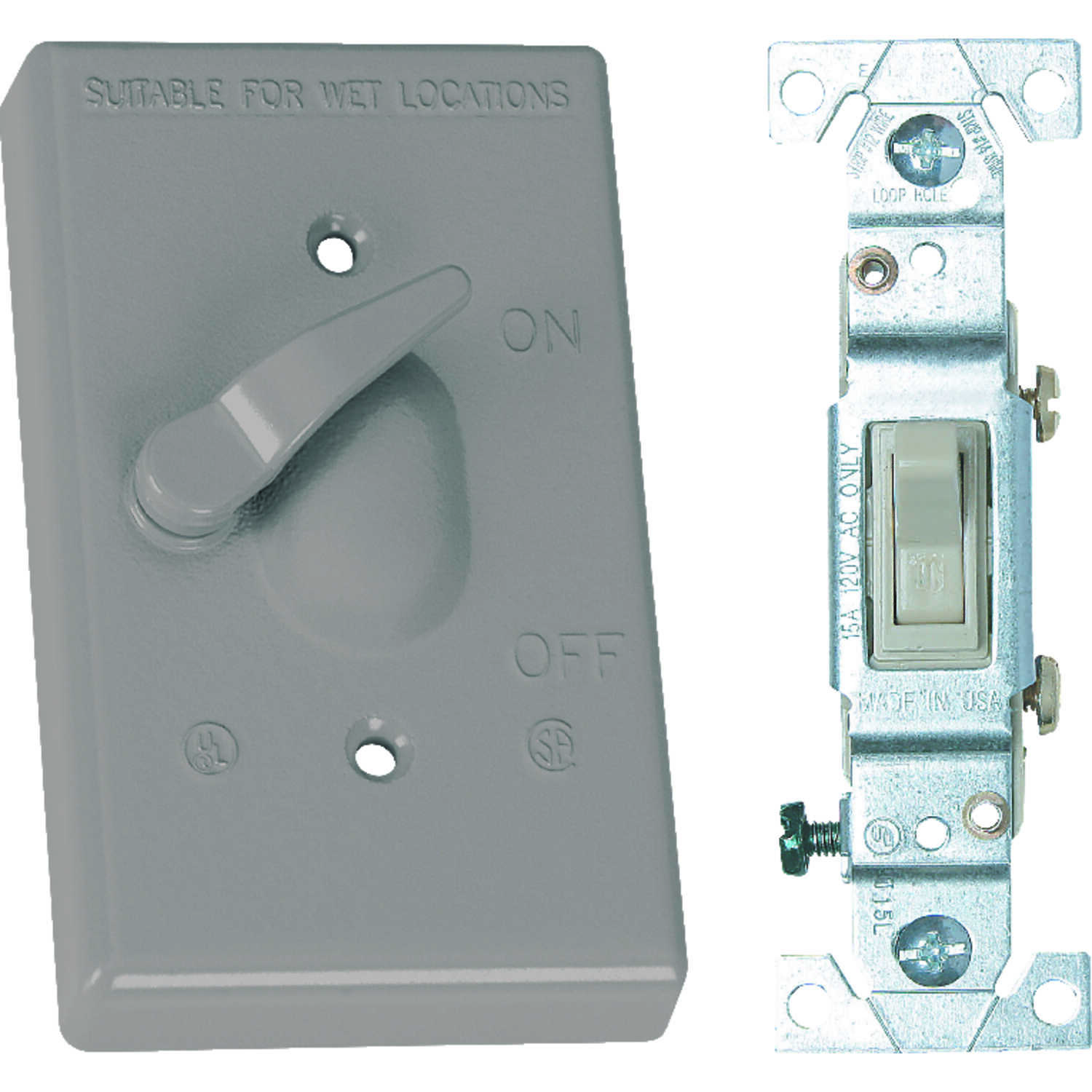 Sigma Electric  Rectangle  Metal  1 gang Toggle Switch and Cover  For Wet Locations 1 each Toggle