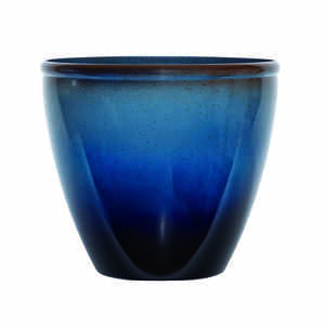 Suncast  Seneca  14 in. H x 16 in. W Blue/Brown  Resin  Modern  Planter