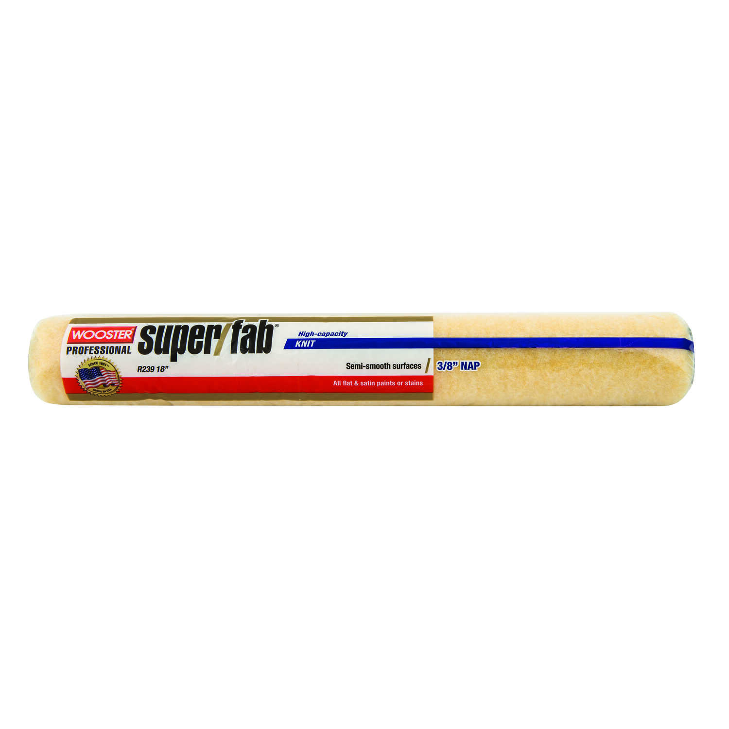 Wooster  Super/Fab  Fabric  3/8 in.  x 18 in. W Regular  Paint Roller Cover  For Medium Surfaces 1 p
