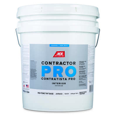 Ace  Contractor Pro  Eggshell  Tint Base  Mid-Tone Base  Latex  Paint  Indoor  5 gal.