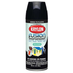 Krylon  Gloss  Black  12 oz. Fusion Spray Paint