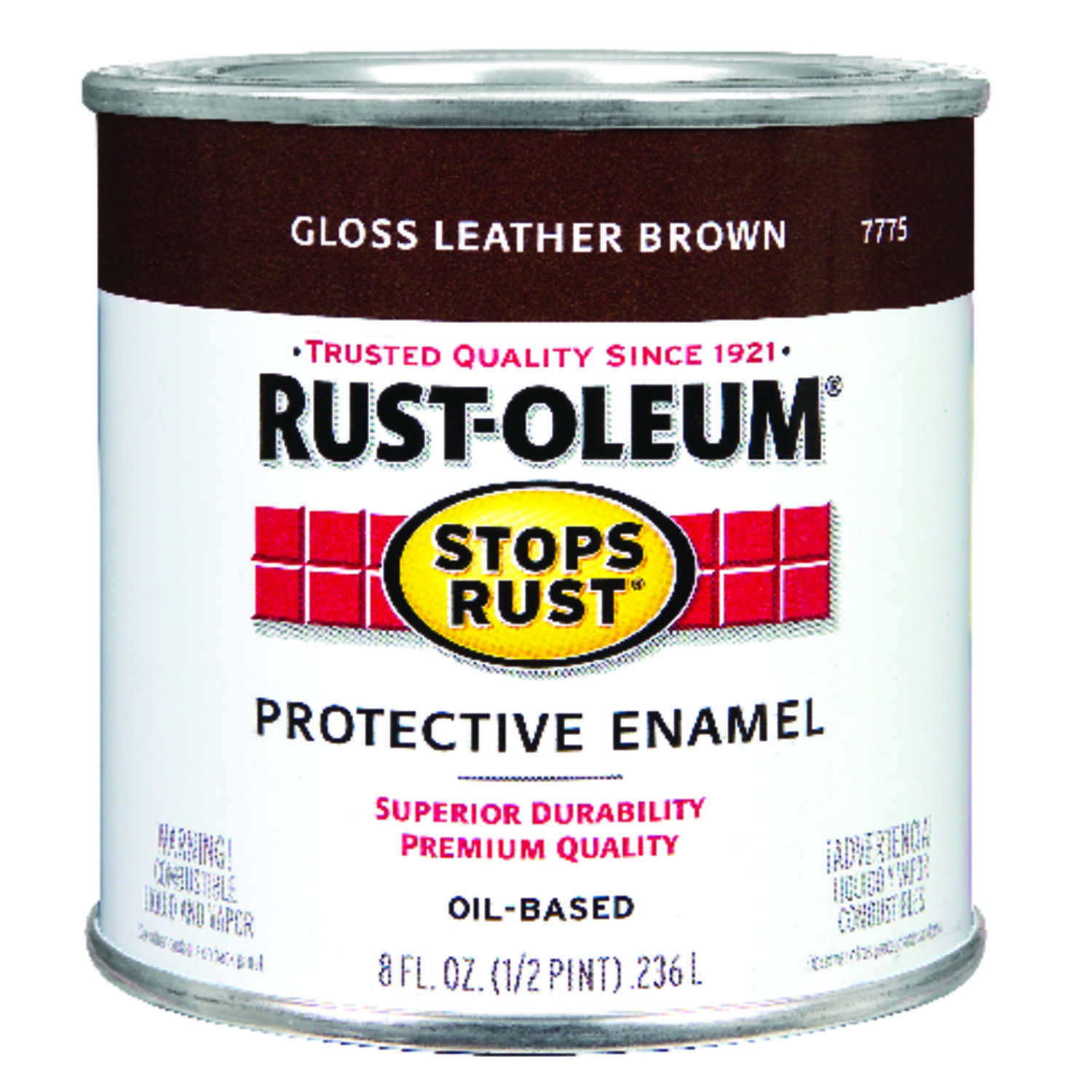 Rust-Oleum  Gloss  Leather Brown  Indoor and Outdoor  Protective Enamel  0.5 pt.