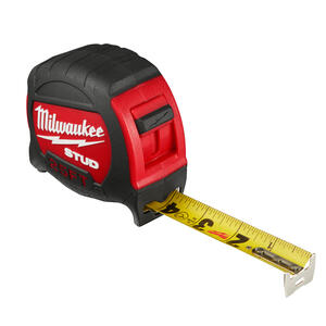Milwaukee  STUD  25 ft. L x 2.24 in. W Closed Case  Tape Measure  Red  1 pk