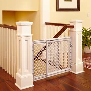 North States  White  27 in. H x 25-42 in. W Plastic  Stairway Gate