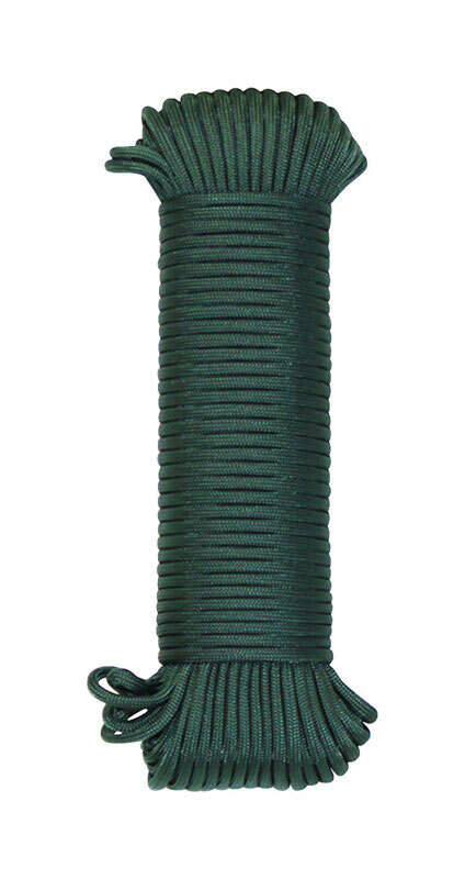 SecureLine  100 ft. L x 5/32 in. Dia. Green  Braided  Nylon  Paracord