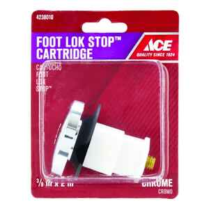 Ace  3/8 in. Dia. Foot Lok Stopper  Brass  Chrome Plated