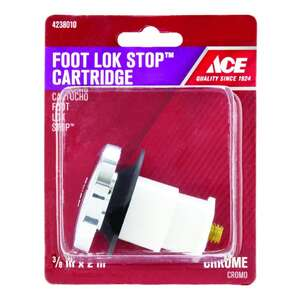 Ace  3/8 in. Dia. Foot Lok Stopper  Brass  Chrome