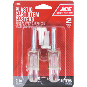 Ace  2 in. Dia. Swivel Plastic  Caster Wheel w/Stem  60 lb. 2 pk