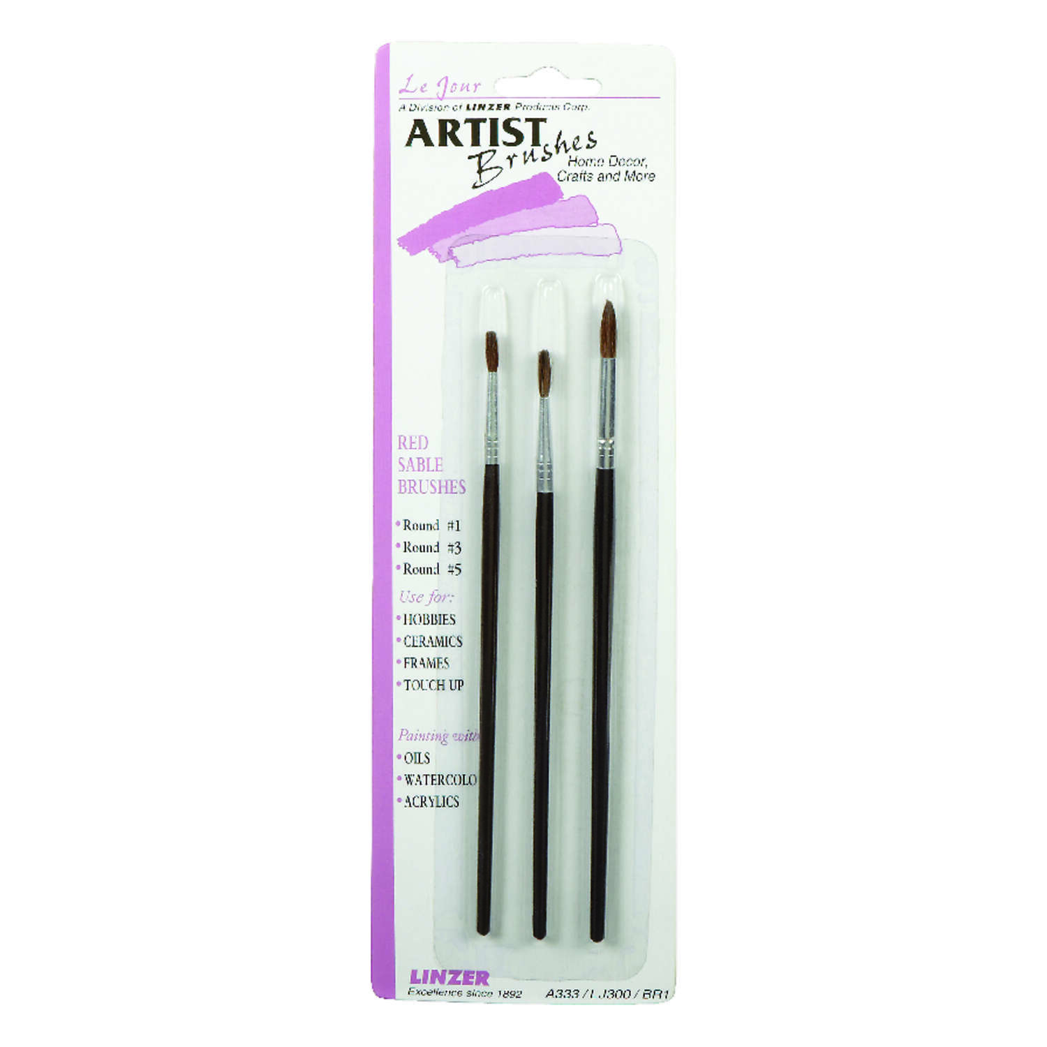Linzer  No. 1, 3, 5  W Round  Artist Paint Brush Set