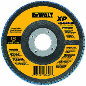 DeWalt  4-1/2 in. Dia. x 7/8 in.   Zirconia Aluminum Oxide  Flap Disc  40 Grit Coarse  13300  1 pc.