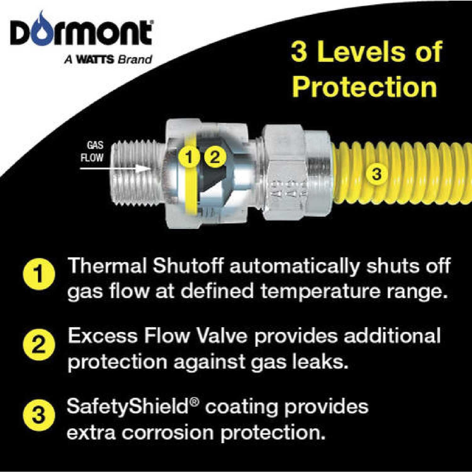 Dormont  SmartSense  1/2 in. Dia. x 60 in. L x 1/2 in. Dia. OD  Stainless Steel  Gas Appliance Conne