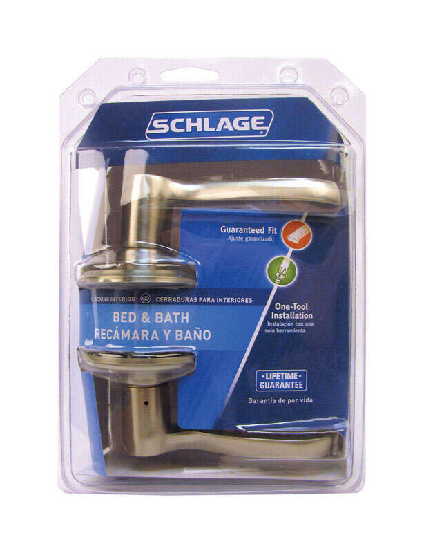Schlage  Flair  Satin Nickel  Steel  1-3/4 in. ANSI Grade 2  Privacy Lockset