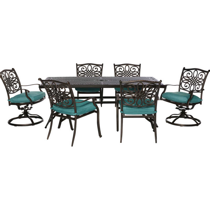 Hanover  Traditions  7 pc. Brown  Aluminum  Traditions  Patio Set  Blue