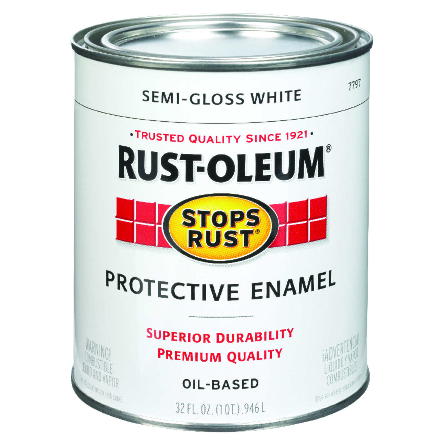 Rust-Oleum  Stops Rust  Semi-Gloss  White  Oil-Based  Alkyd  Exterior and Interior  Protective Ename