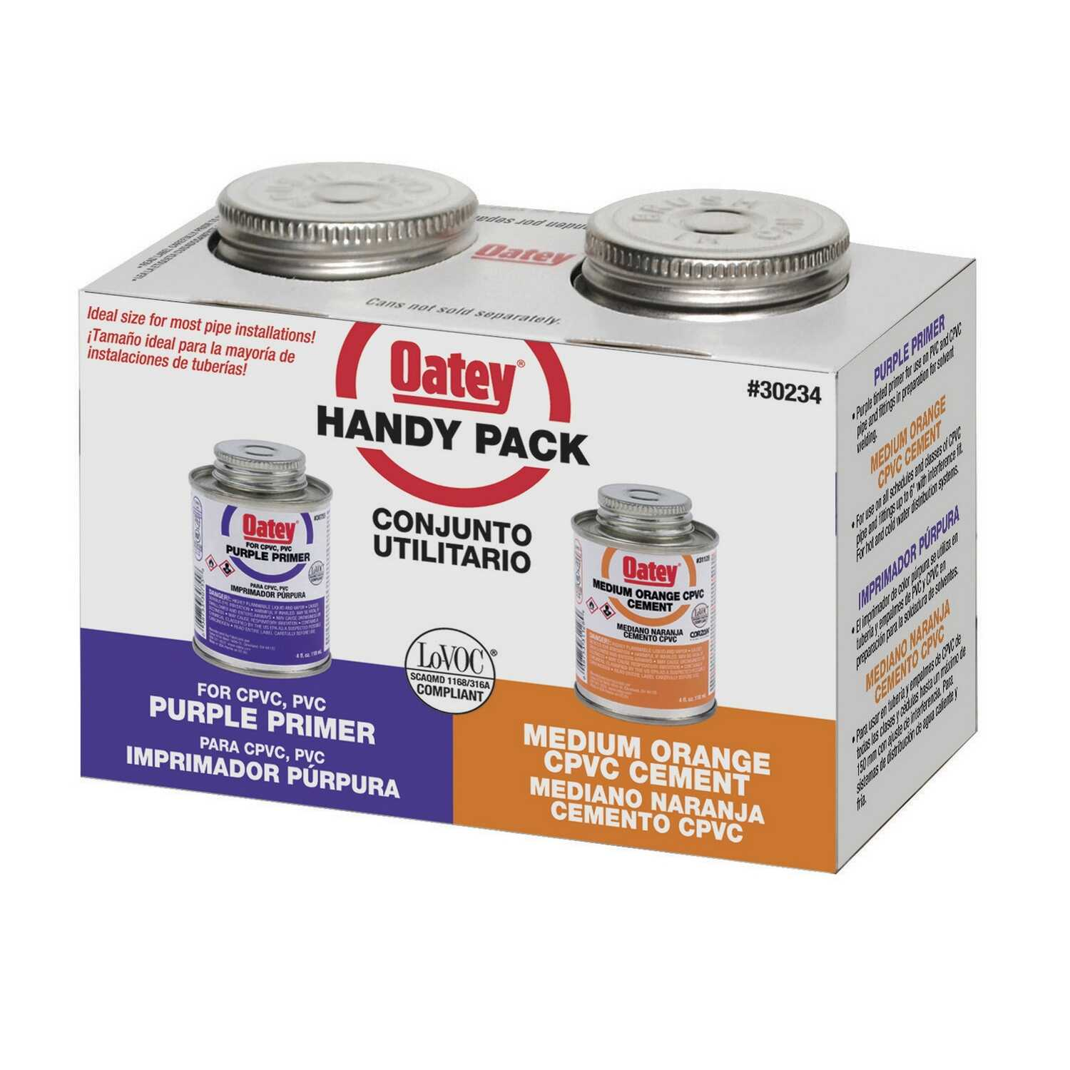Oatey  Handy Pack  Orange  Primer and Cement  For CPVC 4 oz.