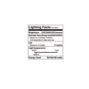 GE  50/100/150 watts A21  Three Way Bulb A-Line  Incandescent Bulb  E26 (Medium)  Soft White  1 pk