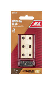 Ace  2 in. W x 1 in. L Antique Brass  Brass  Narrow Hinge  2 pk