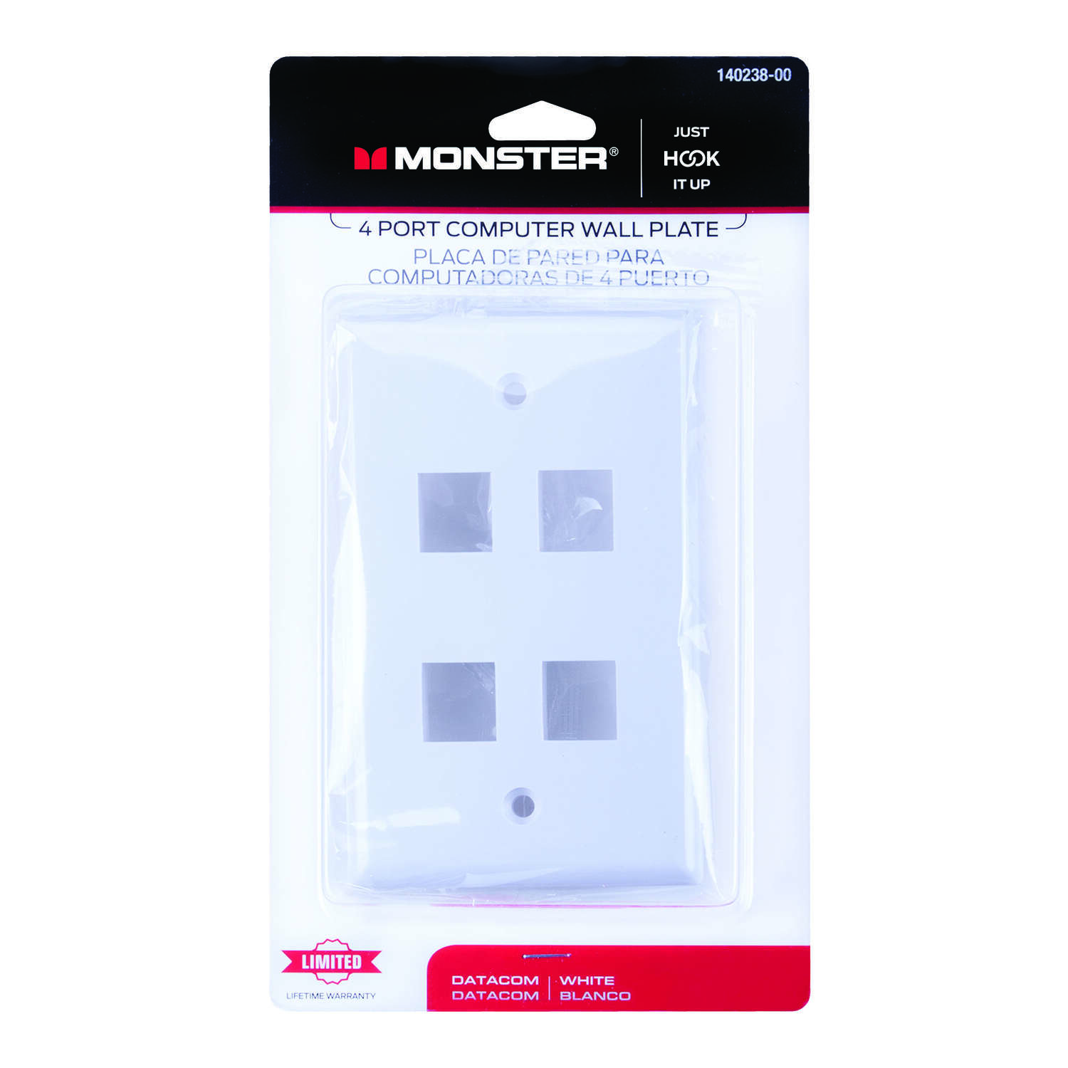 Monster Cable  Just Hook It Up  White  4 gang Plastic  Keystone  Wall Plate  1 pk