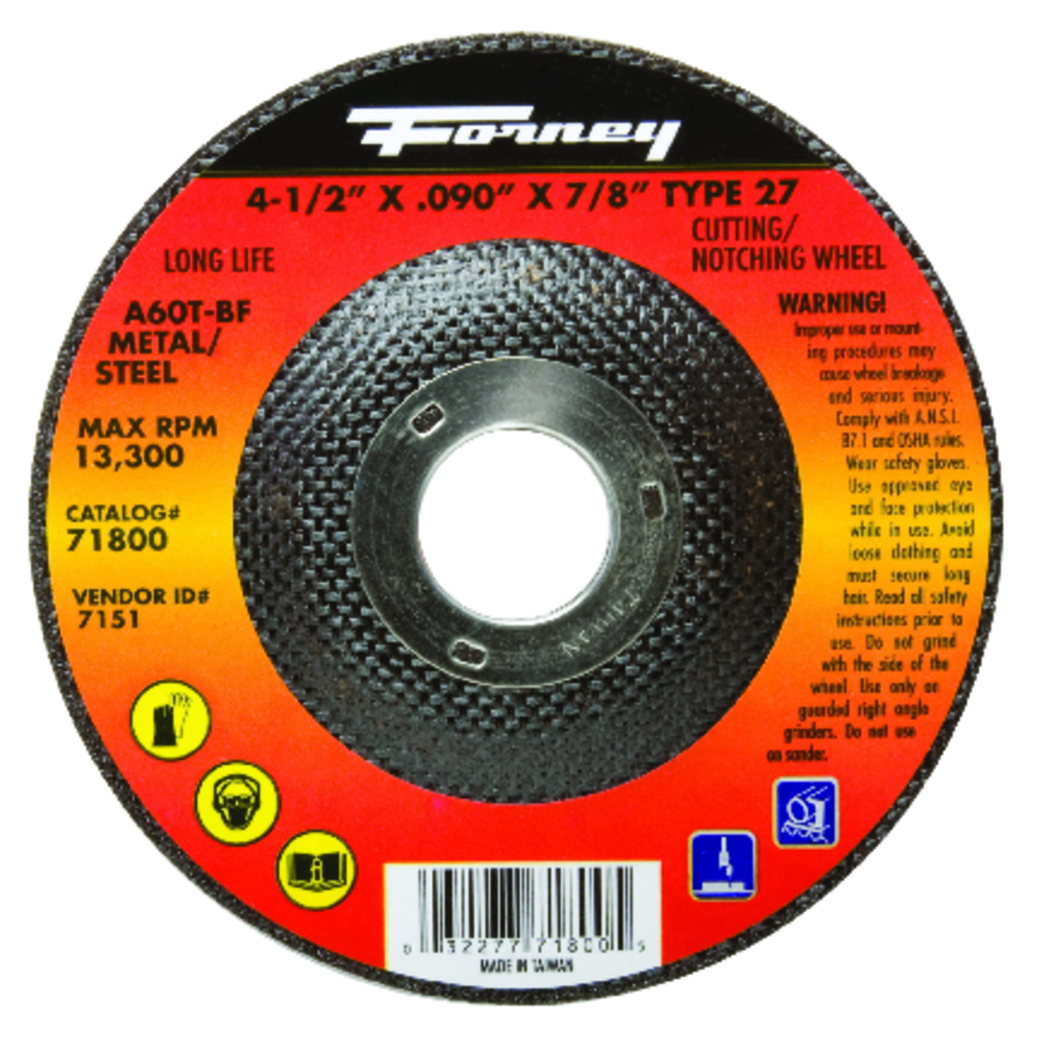 Forney  4-1/2 in. Metal Cut-Off Wheel  .090 in. thick  x 7/8 in.  Aluminum Oxide  1 pc.