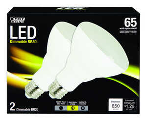 FEIT Electric  10.5 watts BR30  LED Bulb  650 lumens Soft White  65 Watt Equivalence Reflector