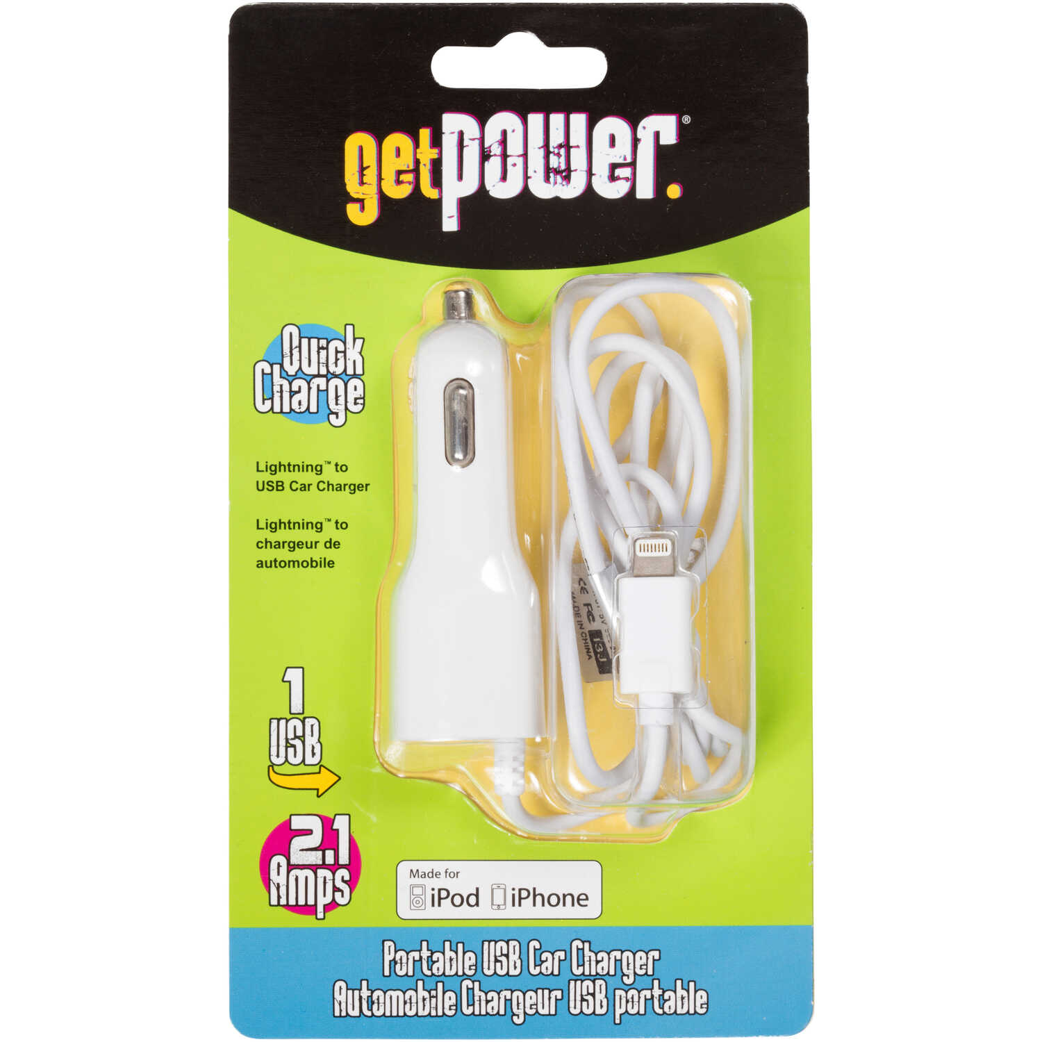 Get Power  3 ft. L USB Car Charger  1 pk