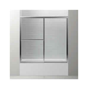 Sterling  56.4 in. H x 59 in. W Silver  Silver  Framed  Tub Door