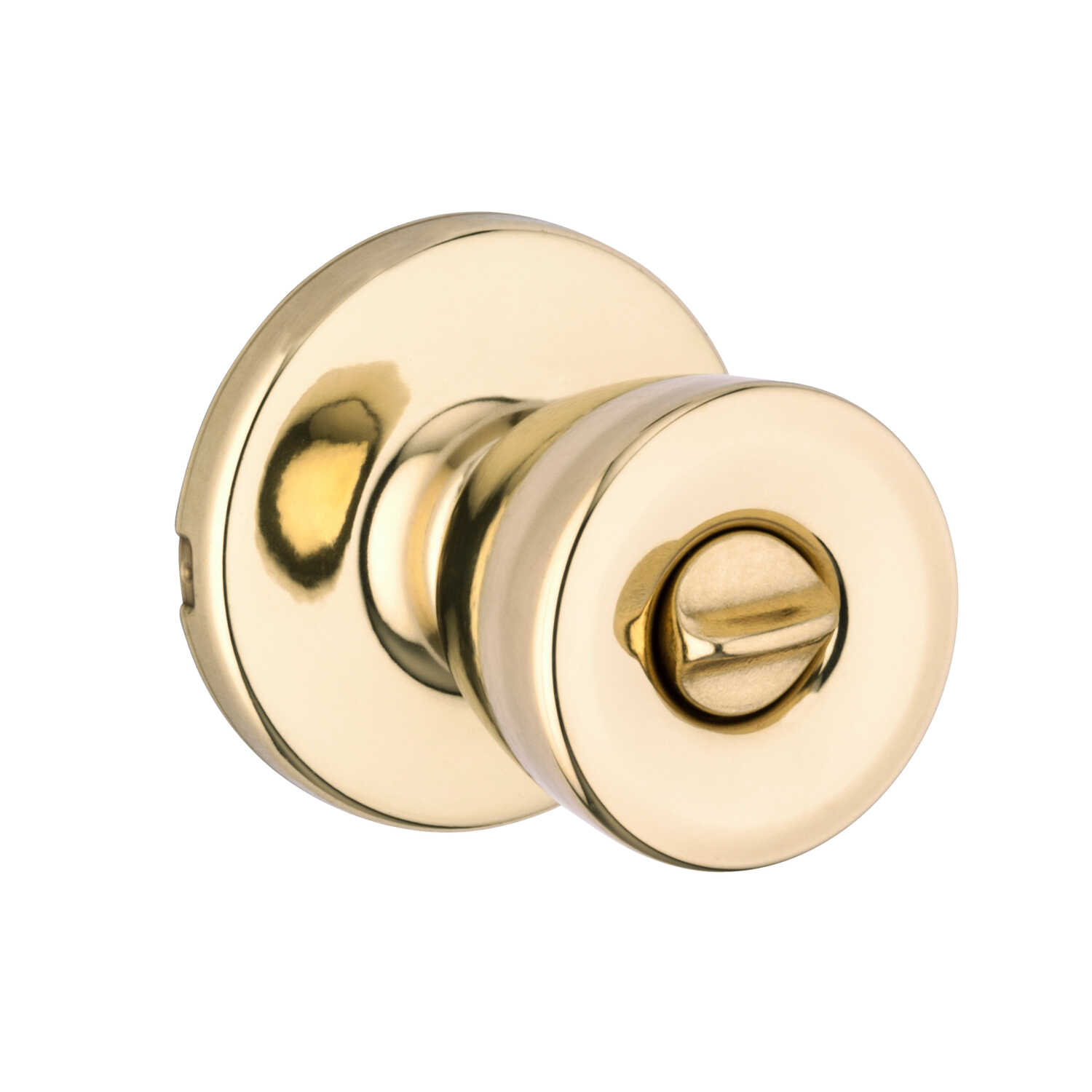 Weiser  Beverly  Polished Brass  Privacy Lockset  ANSI/BHMA Grade 3  1-3/4 in.