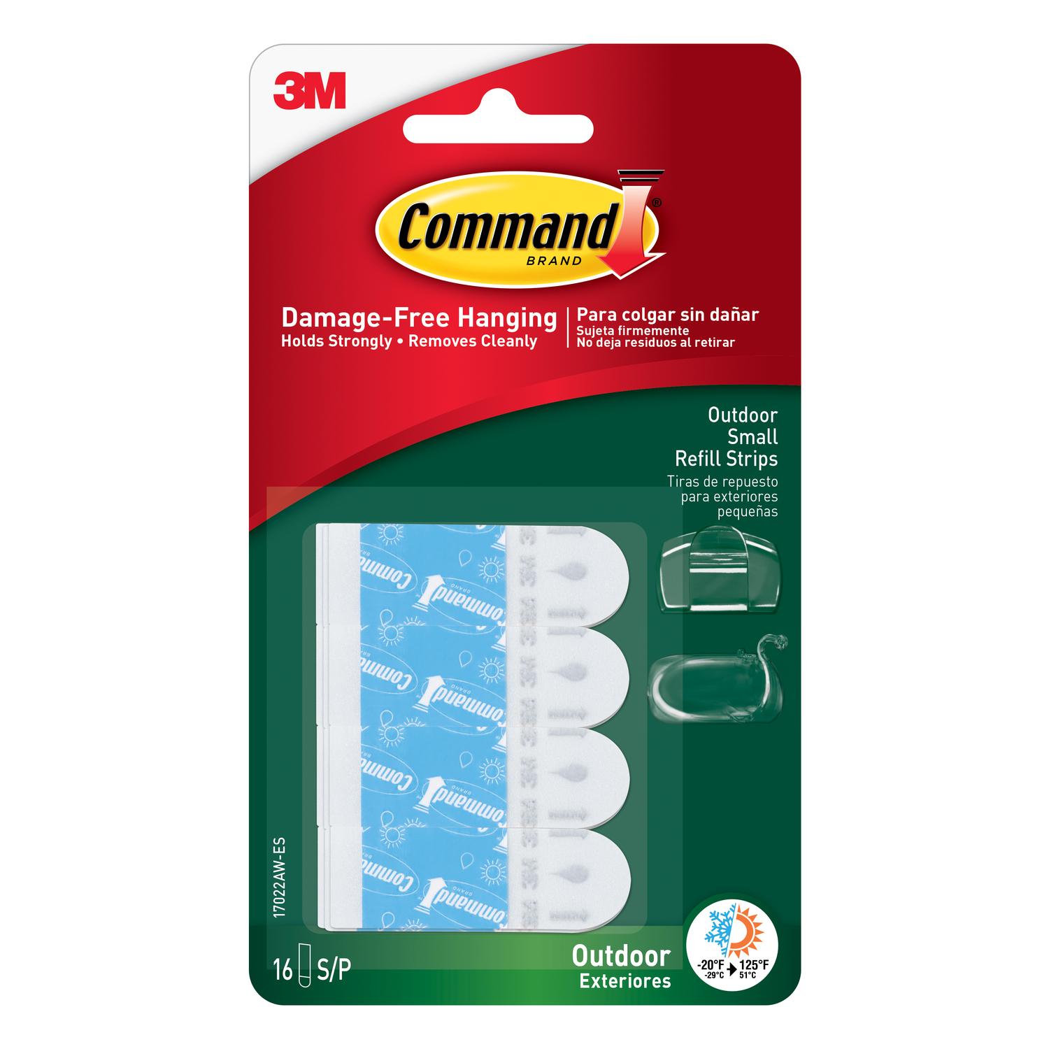 3M  Command  Small  Foam  Adhesive Strips  16 pk 1-1/8 in. L