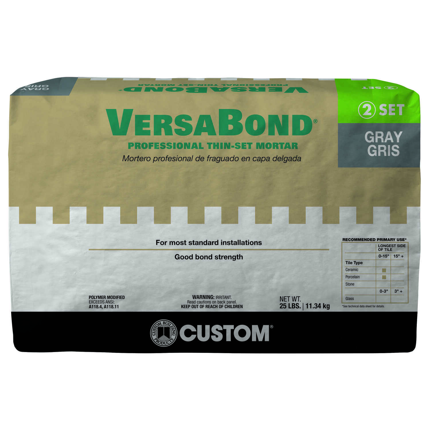 Custom Building Products  VersaBond  Gray  Modified Thin-Set Mortar  25 lb.
