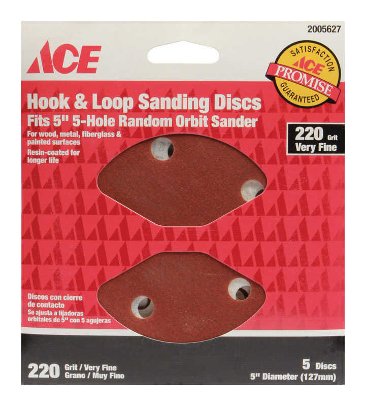 Ace  5 in. Aluminum Oxide  Hook and Loop  Sanding Disc  220 Grit Very Fine  5 pk
